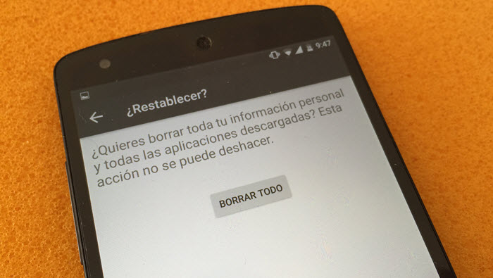 restablecer android fabrica