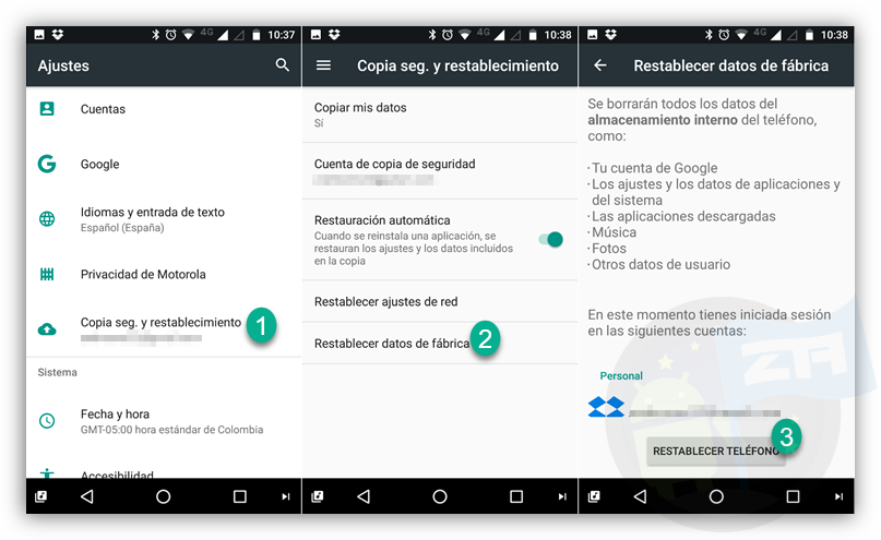 restablecer Android de fabrica - Hacer Reset