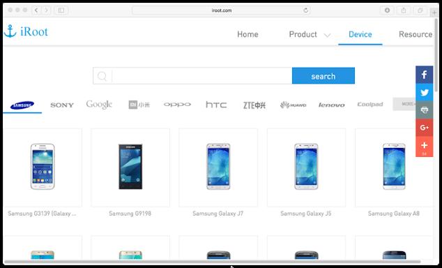 Lista de dispositivos soportados iRoot